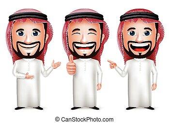 Saudi Arab Man Cartoon Character - 3D Realistic Saudi Arab...