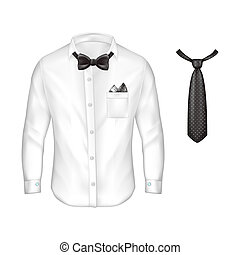 3d realistic set of male formal wear - 3d realistic white...