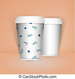 3D Realistic set of paper coffee or tea cups. Mock up....