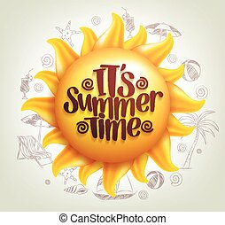 Sun Vector with Summer Time Title