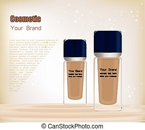 3D realistic transparent bottle for foundation or BB cream. Mock-up of cosmetic glass container. Blank template of packaging for liquid cosmetic product. Vector illustration isolated on white background