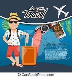 3D Realistic Travel and Tour creative Poster Design with realistic airplane, mascot man character, world map, passport and air tickets with palm tree leaf.