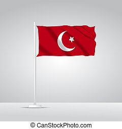 3D Realistic Turkey Flag waving Vector illustration