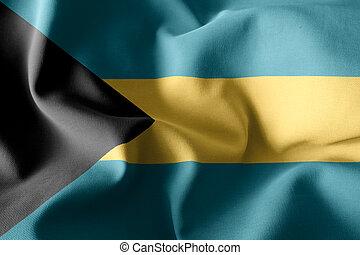3d rendering realistic waving silk flag of Bahamas