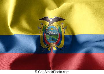 3d realistic waving silk flag of Ecuador