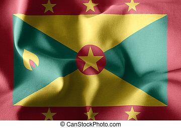 3d rendering realistic waving silk flag of Grenada