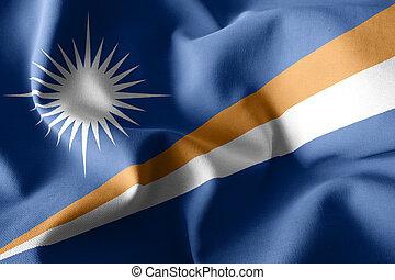 3d rendering realistic waving silk flag of Marshall Islands