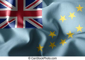 3d realistic waving silk flag of Tuvalu