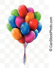 3d, realistico, colorito, mazzo, volare, compleanno, balloons., festa, e, celebrazione, concept.