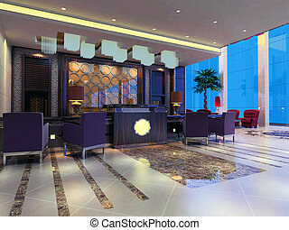 3d reception hall rendering