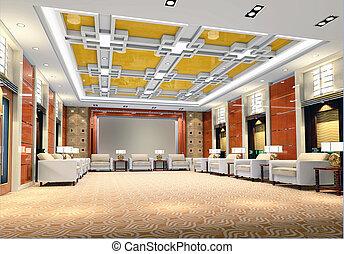3d reception room rendering