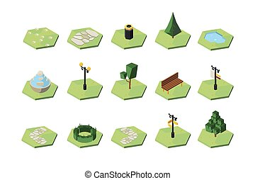 3d, recreatief, isometric, ontwerp onderdelen, vector, illustraties, set, park