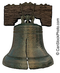 Liberty Bell - 3D Recreation of the Liberty Bell on a white...