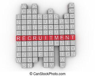 3d Recruitment word cloud concept - Illustration