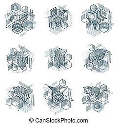 3d, rectangles, cubes, linéaire, elements., conceptions, maille, figures, backgrounds., collection., isométrique, différent, vecteur, hexagones, formes, carrés, résumé