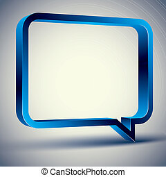 3d rectangular rounded empty speech bubble, vector background.
