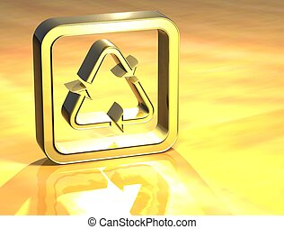 3D Recycle Gold Sign