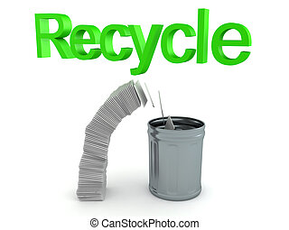 3D Recycling text above paper stack falling in trash can