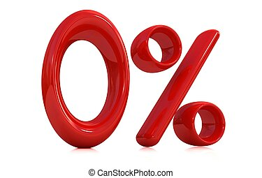 "3d red ""0"" - zero percent on a white background"