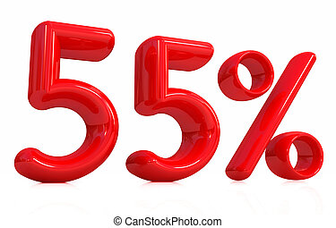 """3d red """"55"""" - fifty five percent on a white background"""