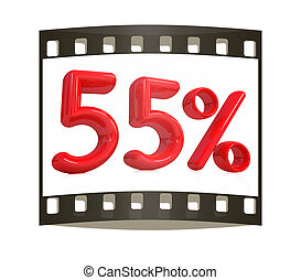 """3d red """"55"""" - fifty five percent on a white background. The ..."""