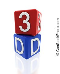 3d red and blue cubes