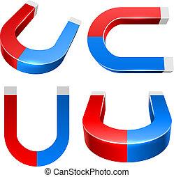 3D red and blue magnet illustration