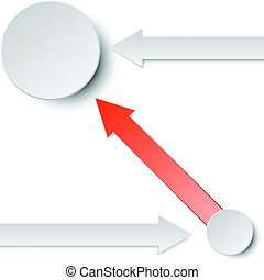 3d red and grey arrow paper with two circles for business graphic concept design
