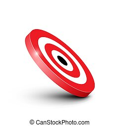 3D Red and White Bullseye Target Icon Isolated on White Background Vector Illustration