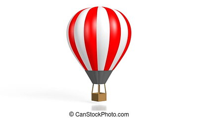 3D red and white hot air balloon on white background