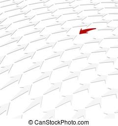 3d red arrow against the flow
