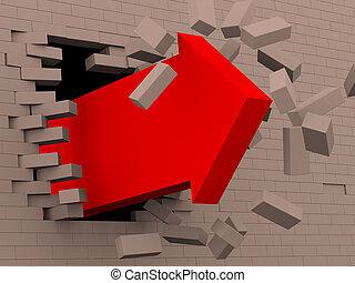 3d red arrow breaking bricks wall