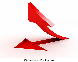 3D red arrow over white background