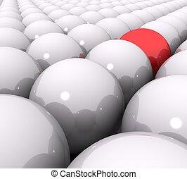 3d red ball of white balls