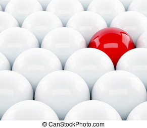 3d red ball Stand out of a crowd - individuality
