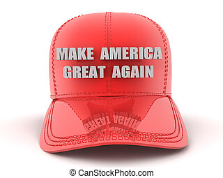 3D Red Baseball cap with make America great again text on...