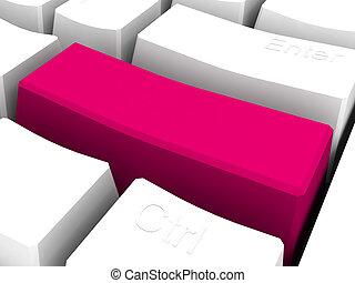 3d red blank key on keyboard