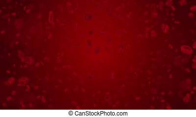 3D Red blood cells 4k Loop animation in an artery, flow inside body, medical human.