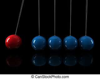 3d red blue pendulum - 3d, red, blue, pendulum, chrome,...