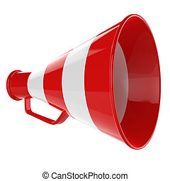 3D Red Bullhorn... Retro megaphone in a red and white colors...