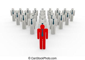 3d red business leader