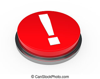 3d red button exclamation mark