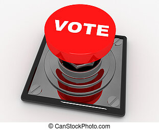 3d red button vote .3d rendered illustration