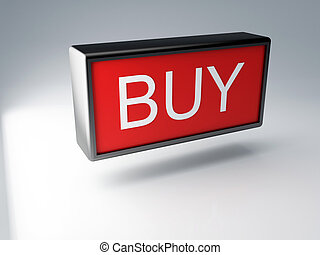 3d Red buy button