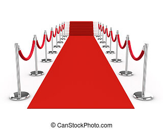 3d Red carpet and velvet ropes - 3d red carpet and ropes