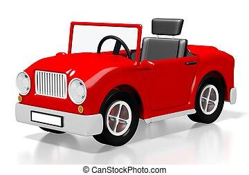 3D red cartoon car