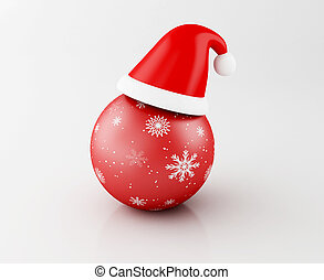 3d Red Christmas ball with santa hat.