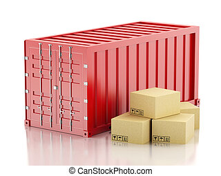 3d Red container with cardboard boxes.