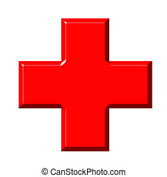 3d red cross isolated in white