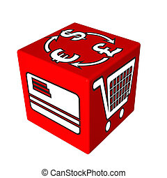 3d red cube box web